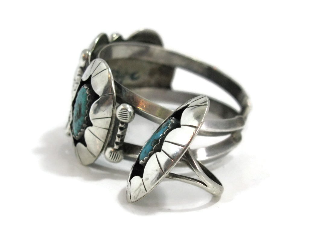 C. 1940 NAVAJO STERLING & TURQUOISE CUFF & RING - 5