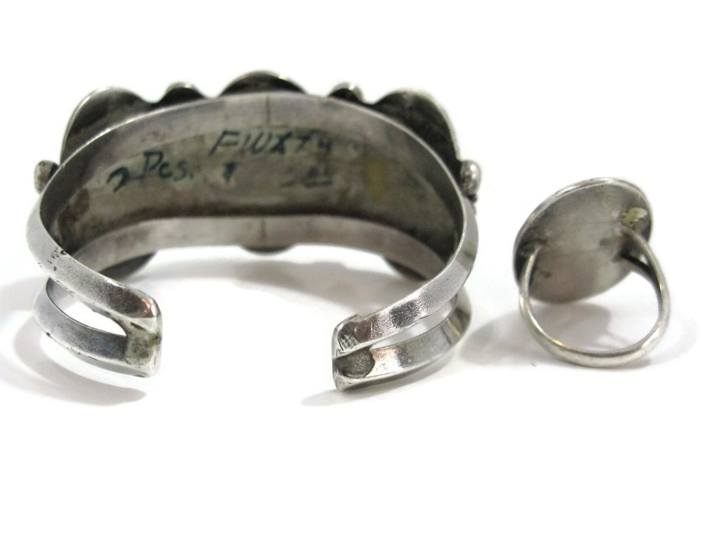 C. 1940 NAVAJO STERLING & TURQUOISE CUFF & RING - 8