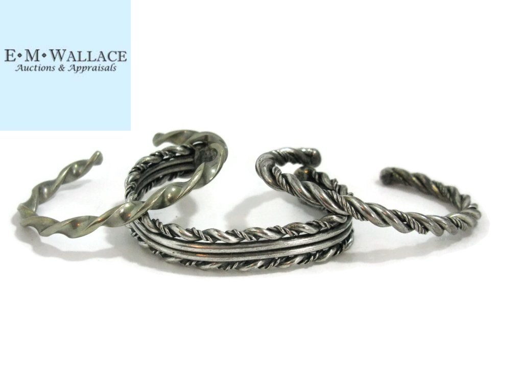 c. 1940 3 @ NAVAJO TWISTED STERLING CUFF BRACELET