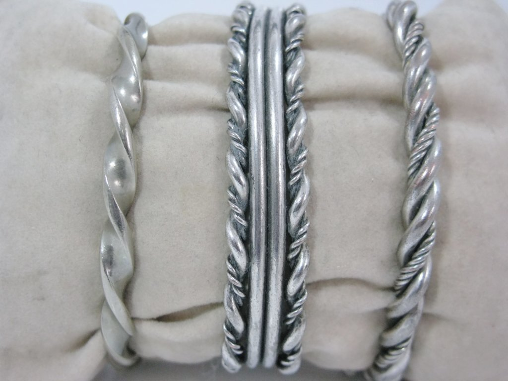 c. 1940 3 @ NAVAJO TWISTED STERLING CUFF BRACELET - 2
