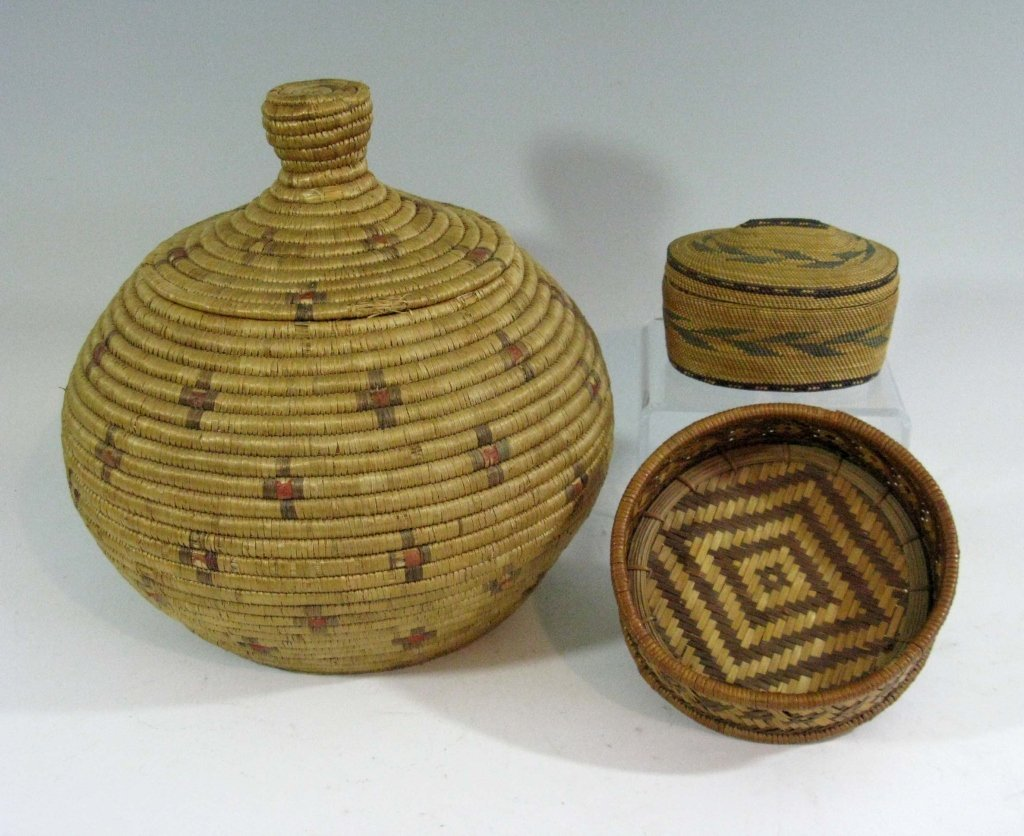 COLLECTION OF INUIT & MAKAH PEOPLES WOVEN BASKETS
