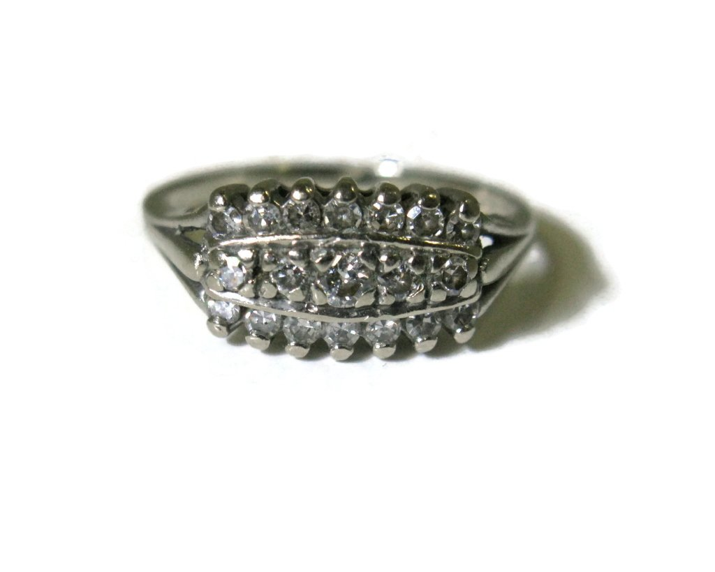 SIGNED 14K WHITE GOLD & MULTI-DIAMOND RING - 2