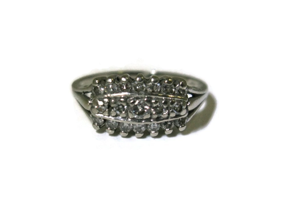 SIGNED 14K WHITE GOLD & MULTI-DIAMOND RING - 3
