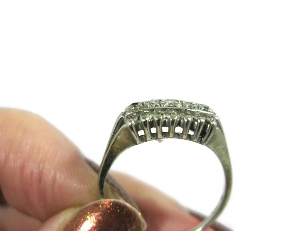 SIGNED 14K WHITE GOLD & MULTI-DIAMOND RING - 4