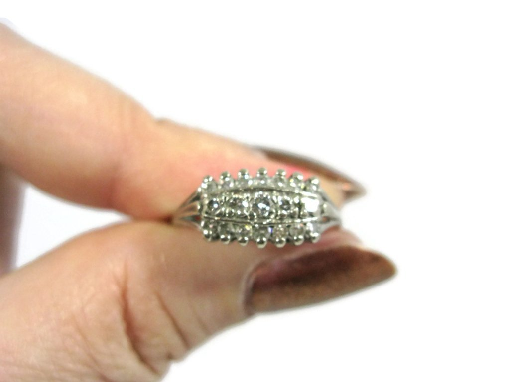 SIGNED 14K WHITE GOLD & MULTI-DIAMOND RING - 5