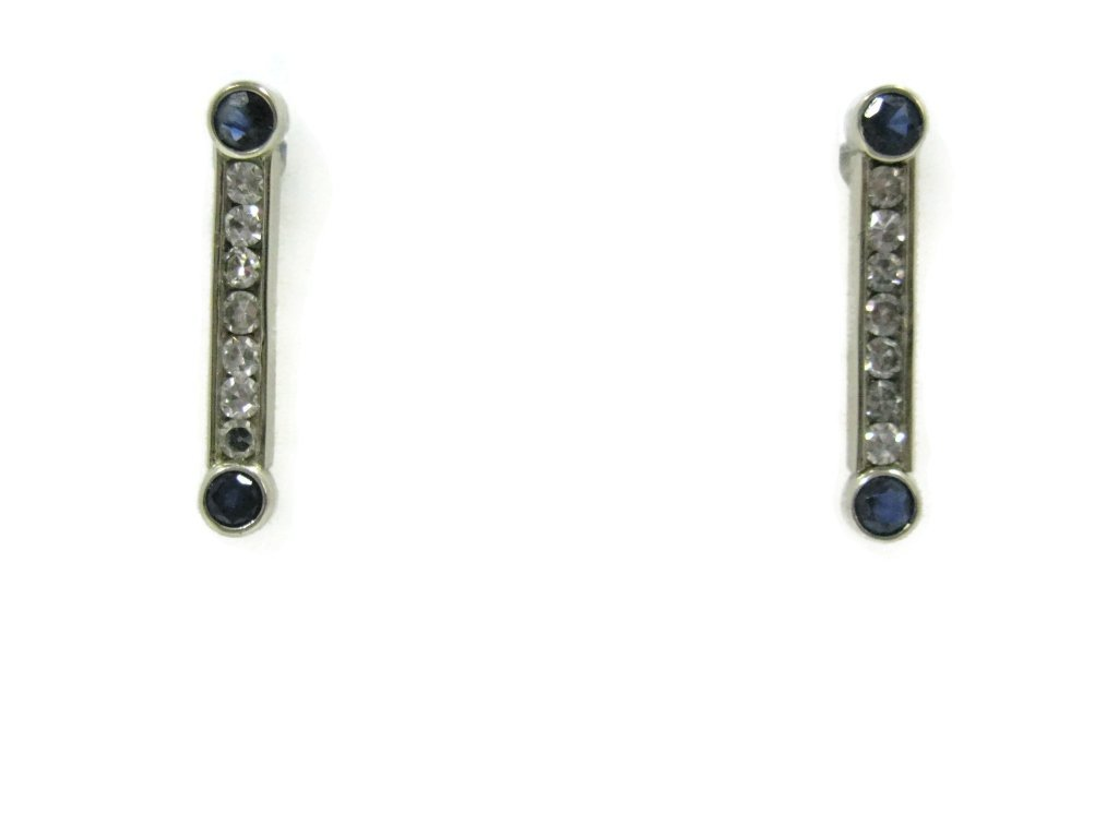 14K WHITE GOLD EARRINGS WITH DIAMONDS & SAPPHIRES - 2