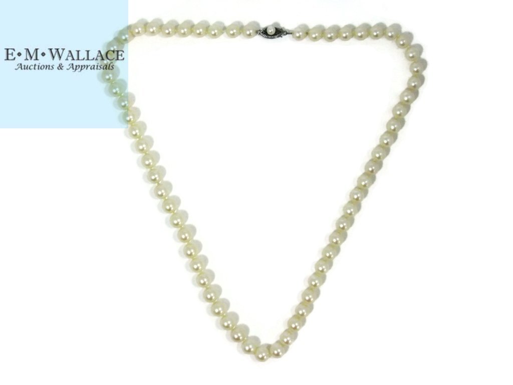 KNOTTED PEARL NECKLACE STERLING CLASP - 2