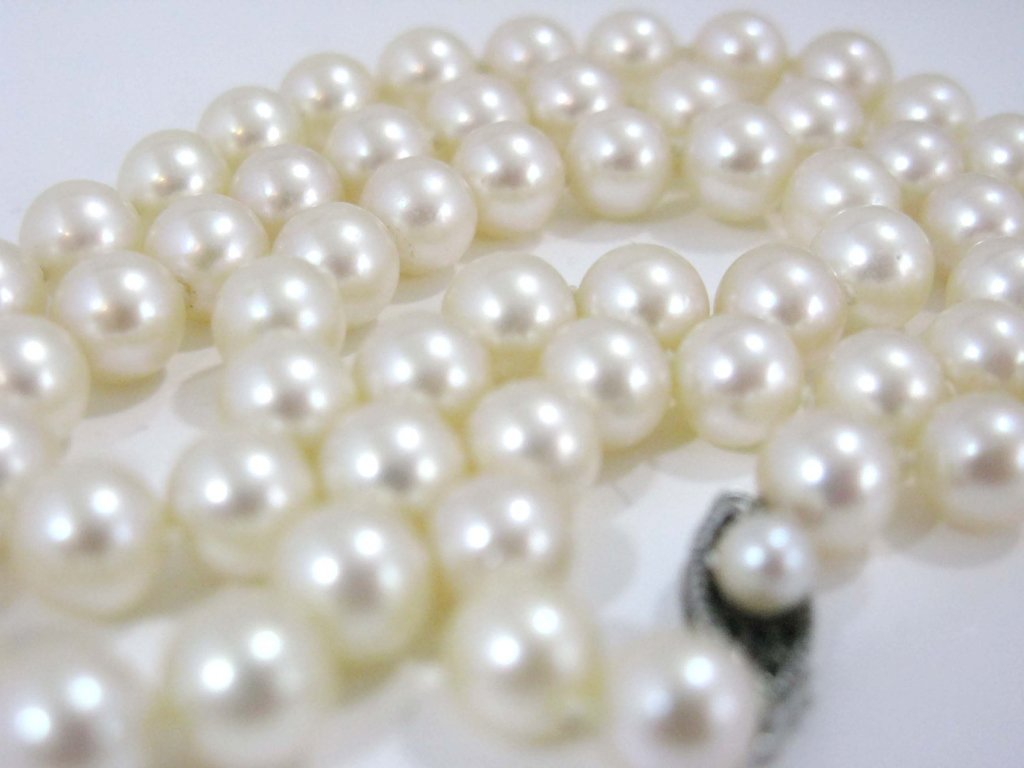 KNOTTED PEARL NECKLACE STERLING CLASP - 4