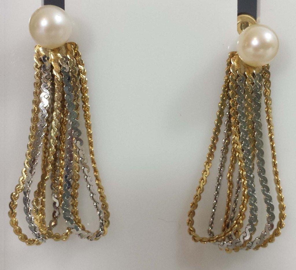 GOLD BALL & PEARL EARRINGS W/ 14K EARRING JACKETS