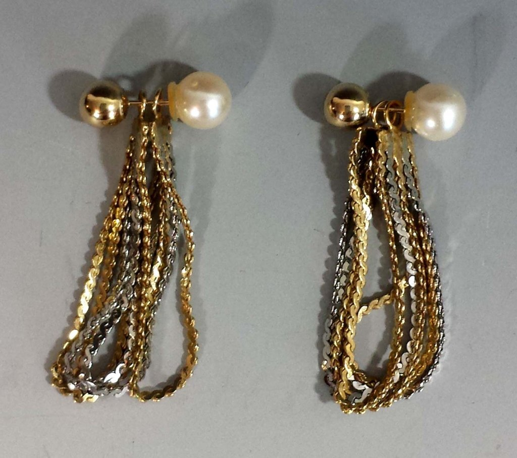 GOLD BALL & PEARL EARRINGS W/ 14K EARRING JACKETS - 3