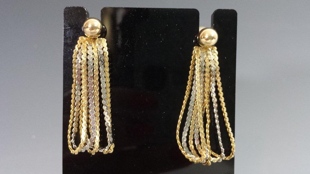 GOLD BALL & PEARL EARRINGS W/ 14K EARRING JACKETS - 4