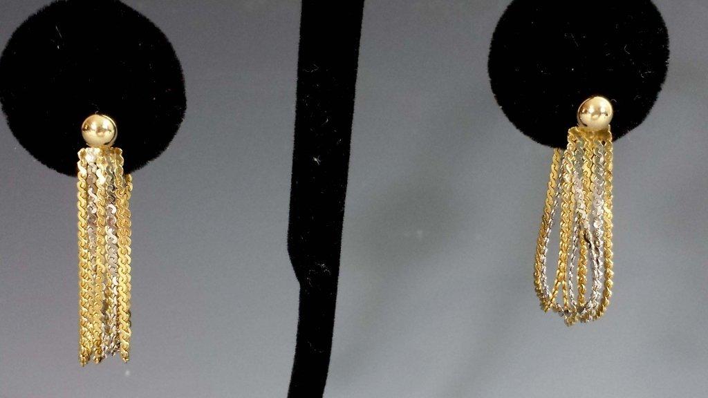 GOLD BALL & PEARL EARRINGS W/ 14K EARRING JACKETS - 5