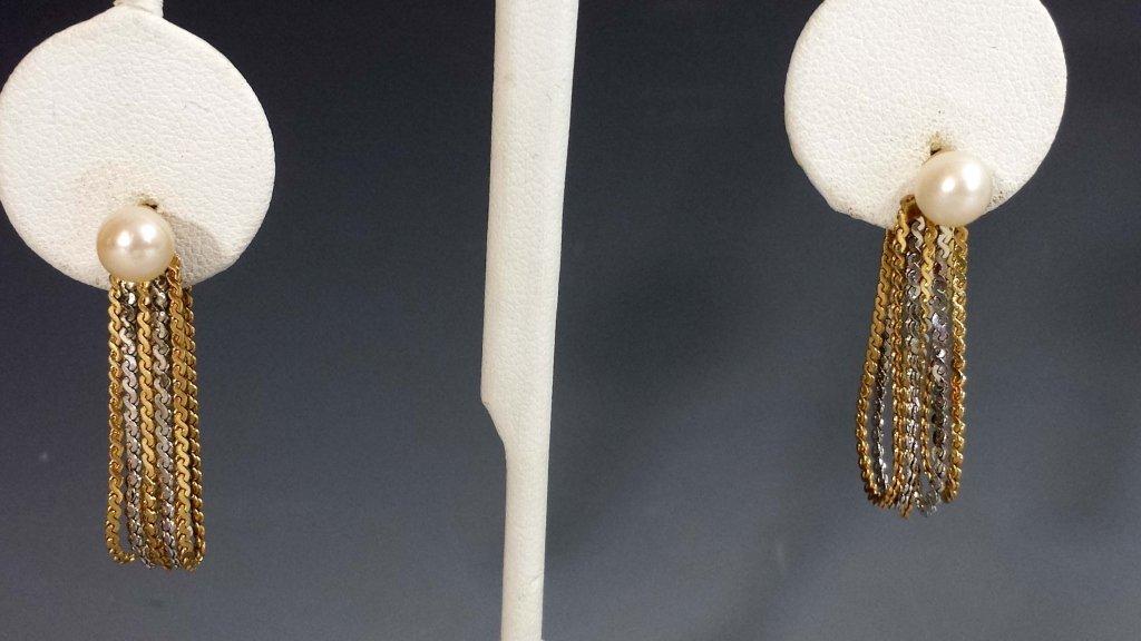 GOLD BALL & PEARL EARRINGS W/ 14K EARRING JACKETS - 6