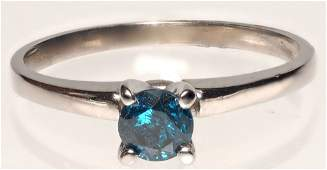 14K WHITE GOLD RING W BLUE DIAMOND SOLITAIRE