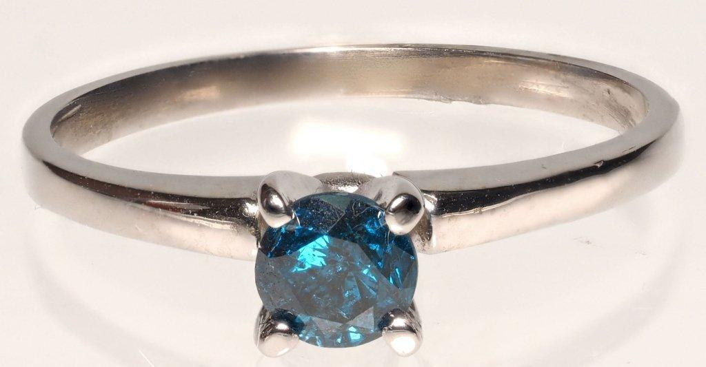 14K WHITE GOLD RING W/ BLUE DIAMOND SOLITAIRE