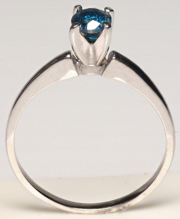 14K WHITE GOLD RING W/ BLUE DIAMOND SOLITAIRE - 2