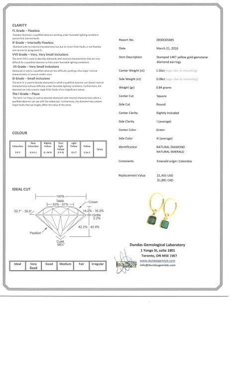 14K YELLOW GOLD HOOP EARRINGS W EMERALDS DIAMONDS - 3