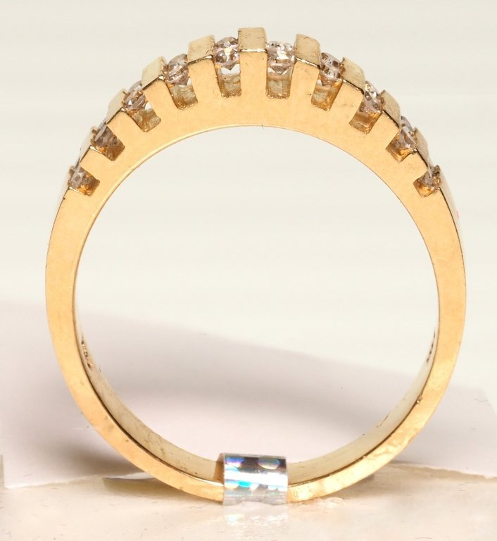 14K YELLOW GOLD AND CHANNEL SET DIAMOND RING