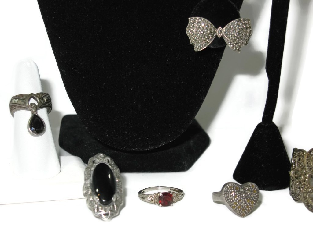 STERLING JEWELRY WITH MARCASITES & GEMSTONES - 2