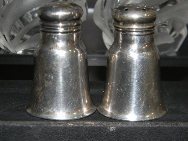 8 STERLING ETCHED CRYSTAL SALT & PEPPER SHAKERS - 2