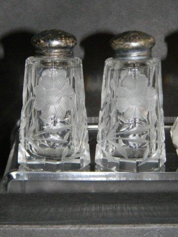 8 STERLING ETCHED CRYSTAL SALT & PEPPER SHAKERS - 4