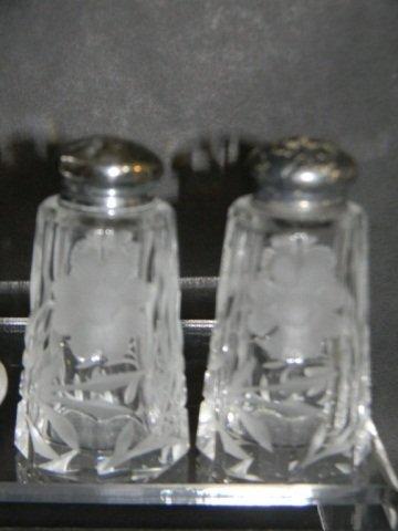 8 STERLING ETCHED CRYSTAL SALT & PEPPER SHAKERS - 6