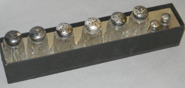 8 STERLING ETCHED CRYSTAL SALT & PEPPER SHAKERS - 7