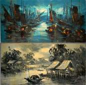 2  HOANG MIDMOD OIL ON CANVAS PAINTINGS