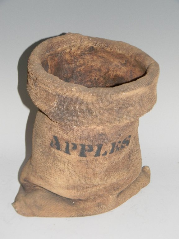 "SIGNED CERAMIC ""APPLE SACK"" SCULPTURE"