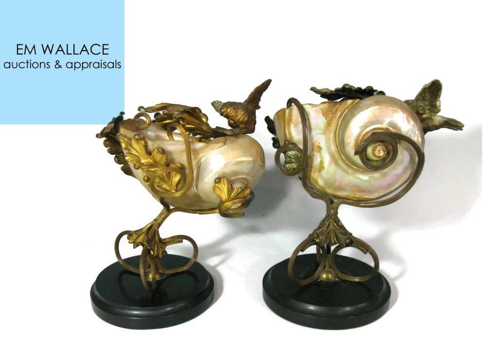 2 @ C. 1815 NAUTILUS SHELL & DORE BIRD COMPOTES
