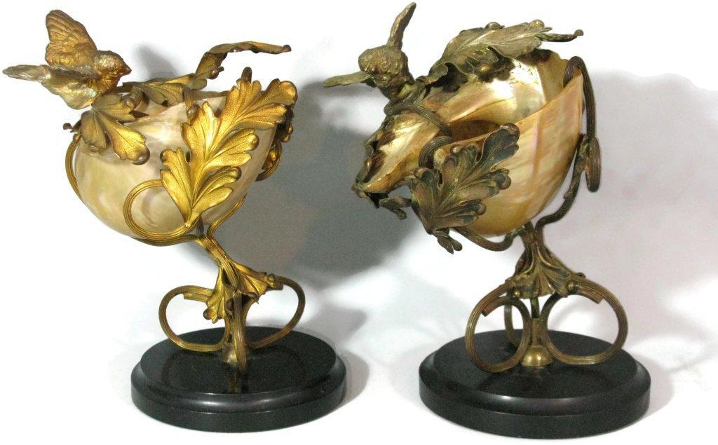 2 @ C. 1815 NAUTILUS SHELL & DORE BIRD COMPOTES - 2