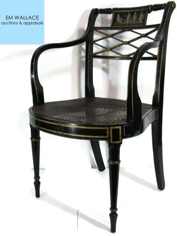 REGENCY BLACK, GILT AND GRISAILLE PAINTED ARMCHAIR