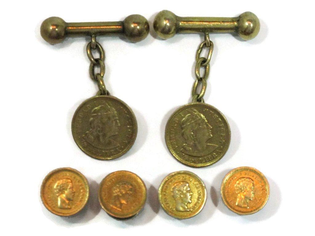 GOLD COIN TUXEDO CUFFLINKS & BUTTONS 22K, 21K, 14K - 2