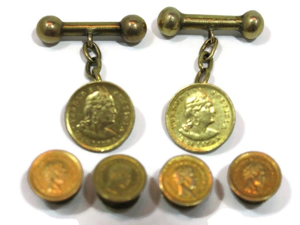 GOLD COIN TUXEDO CUFFLINKS & BUTTONS 22K, 21K, 14K - 4