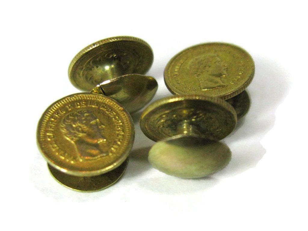 GOLD COIN TUXEDO CUFFLINKS & BUTTONS 22K, 21K, 14K - 7