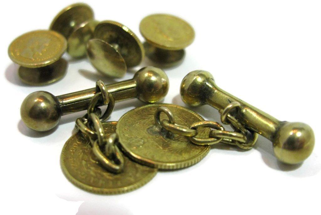 GOLD COIN TUXEDO CUFFLINKS & BUTTONS 22K, 21K, 14K - 8