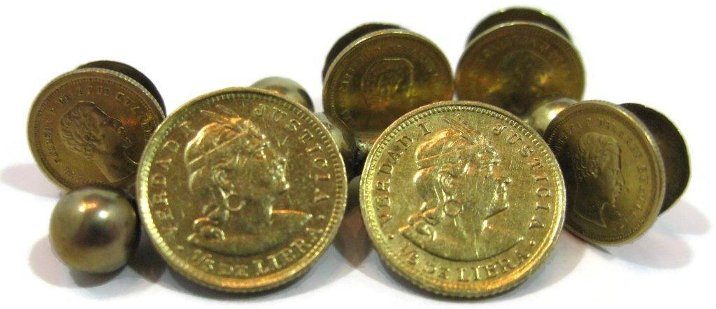GOLD COIN TUXEDO CUFFLINKS & BUTTONS 22K, 21K, 14K - 9