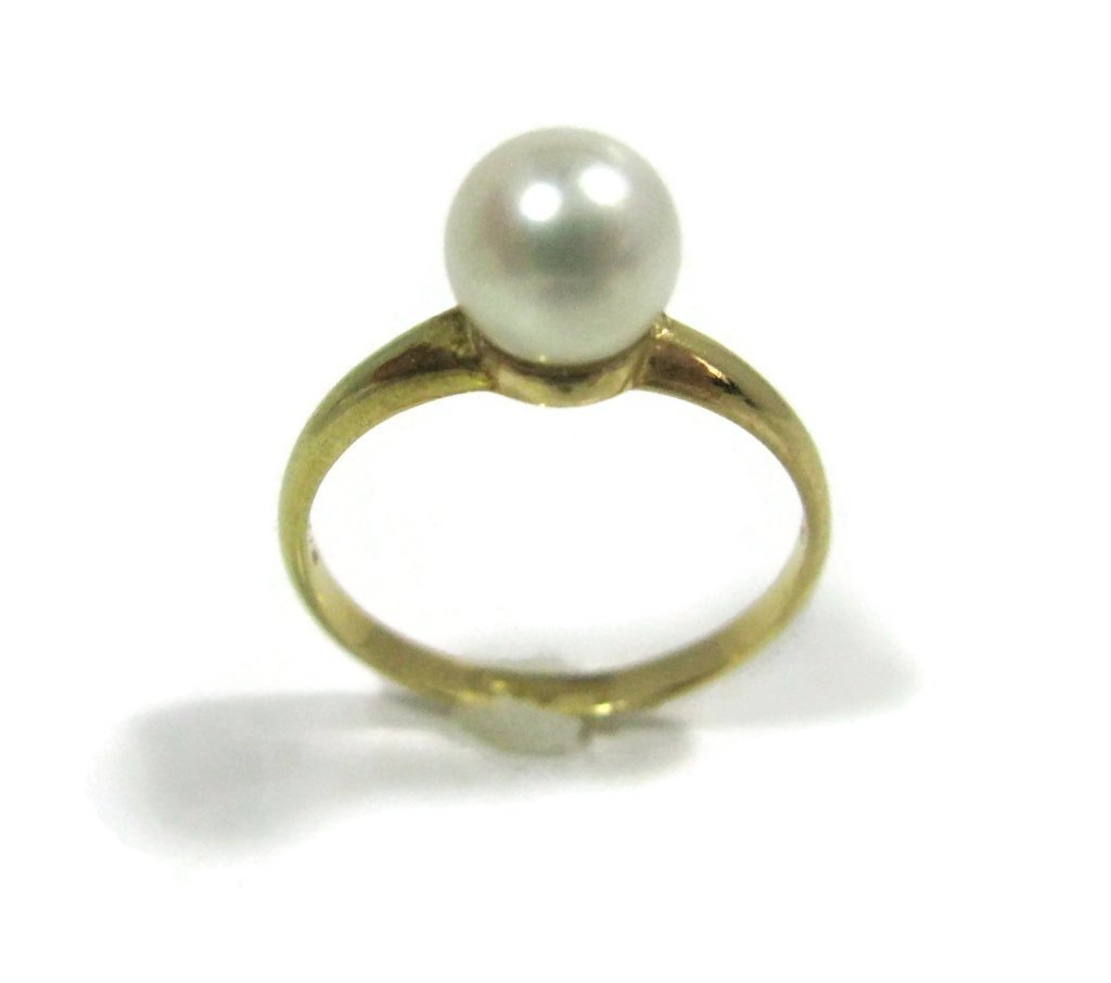 TIFFANY & CO 14K GOLD RING W/ PEARL SOLITAIRE - 2