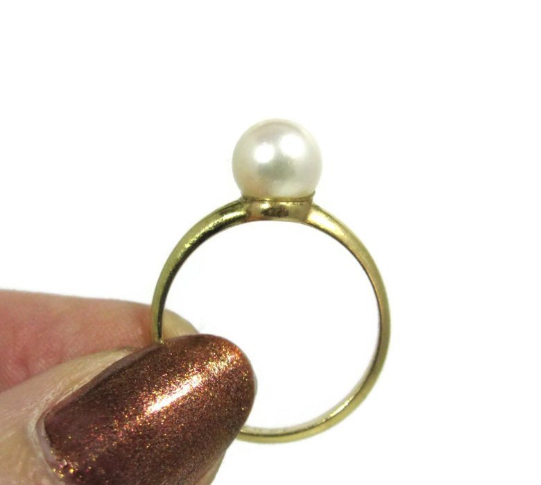 TIFFANY & CO 14K GOLD RING W/ PEARL SOLITAIRE - 3