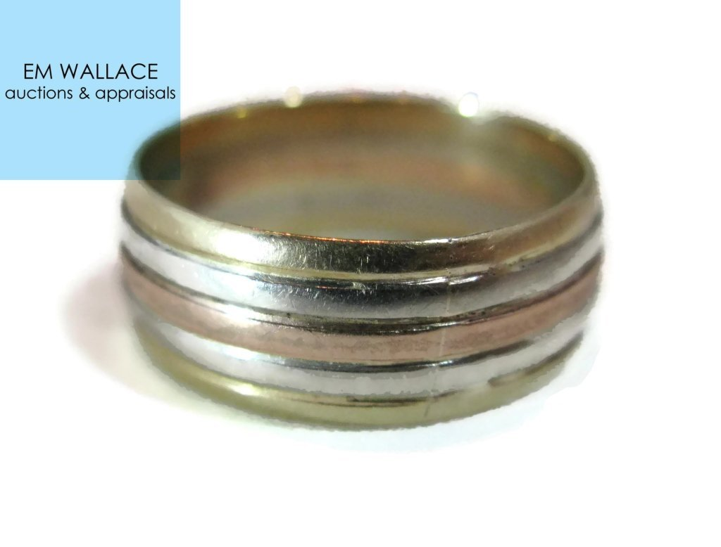 14K MULTI-COLORED GOLD CIGAR BAND RING