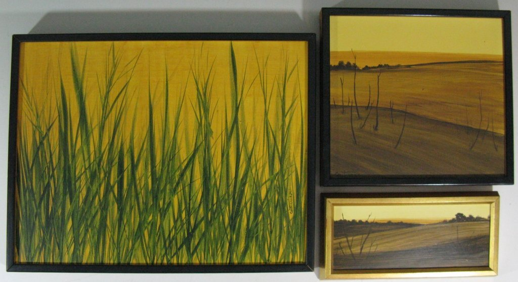 3 @ COUTURIER OIL MASONITE ABSTRACT PAINTINGS