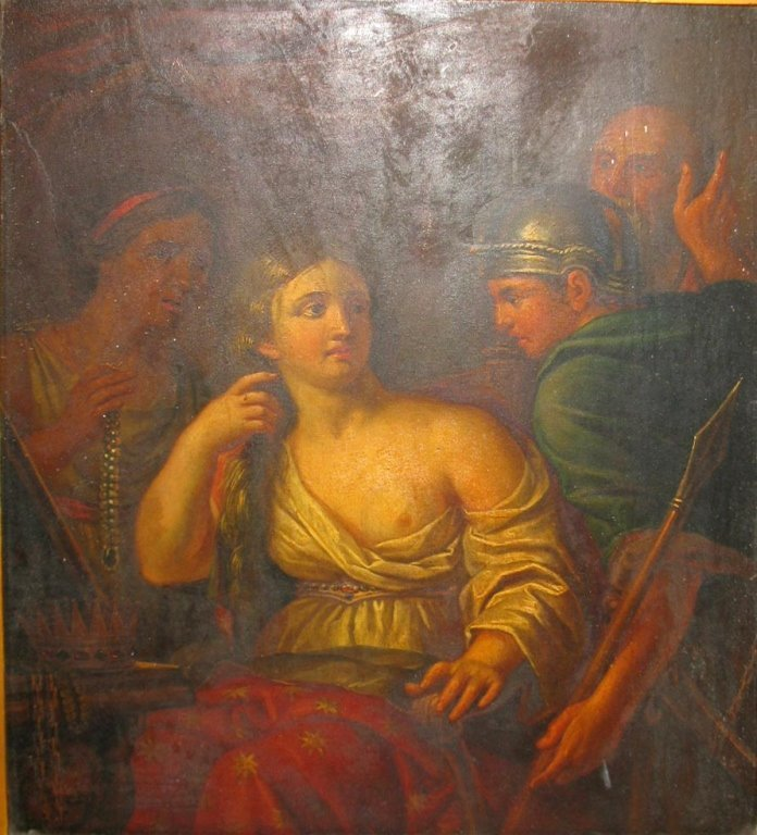 C. 1760 QUEEN SEMIRAMIS NEWS OF BABYLON OIL ON WOOD - 10