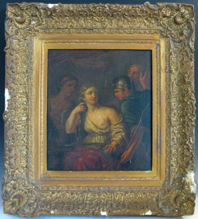 C. 1760 QUEEN SEMIRAMIS NEWS OF BABYLON OIL ON WOOD