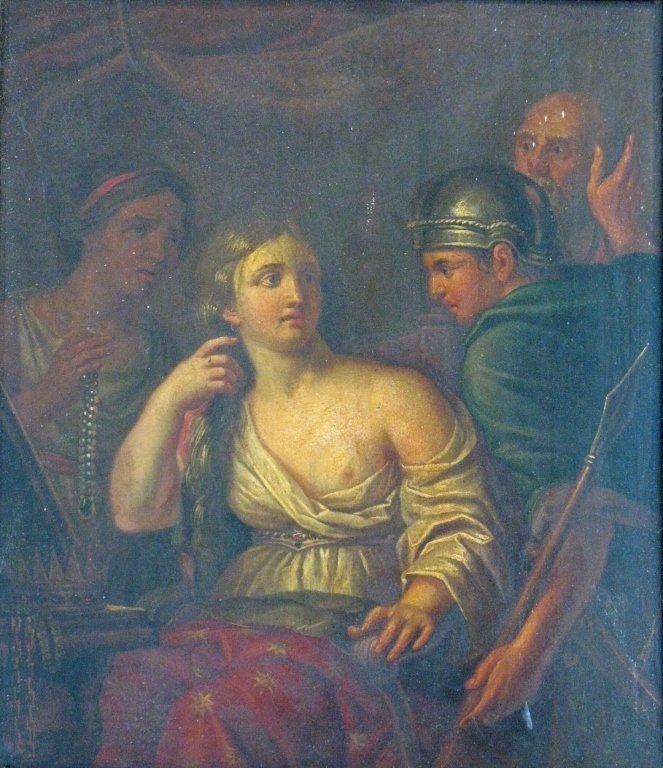 C. 1760 QUEEN SEMIRAMIS NEWS OF BABYLON OIL ON WOOD - 2