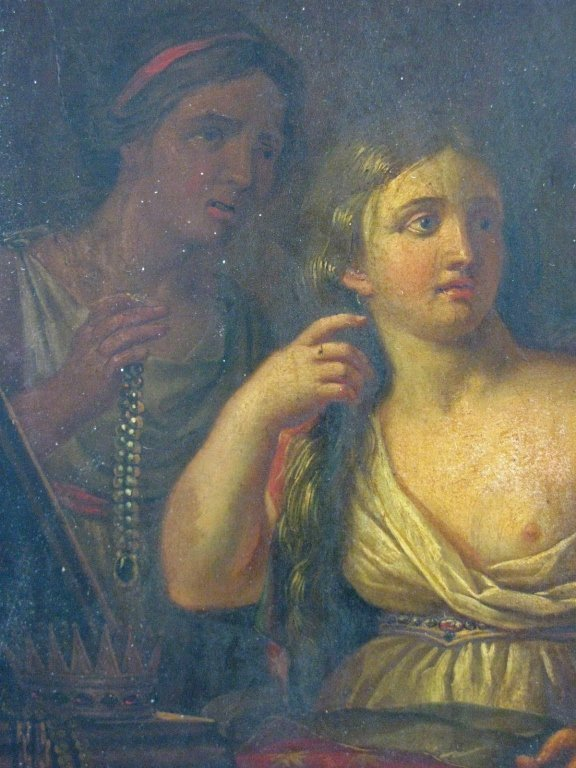 C. 1760 QUEEN SEMIRAMIS NEWS OF BABYLON OIL ON WOOD - 3