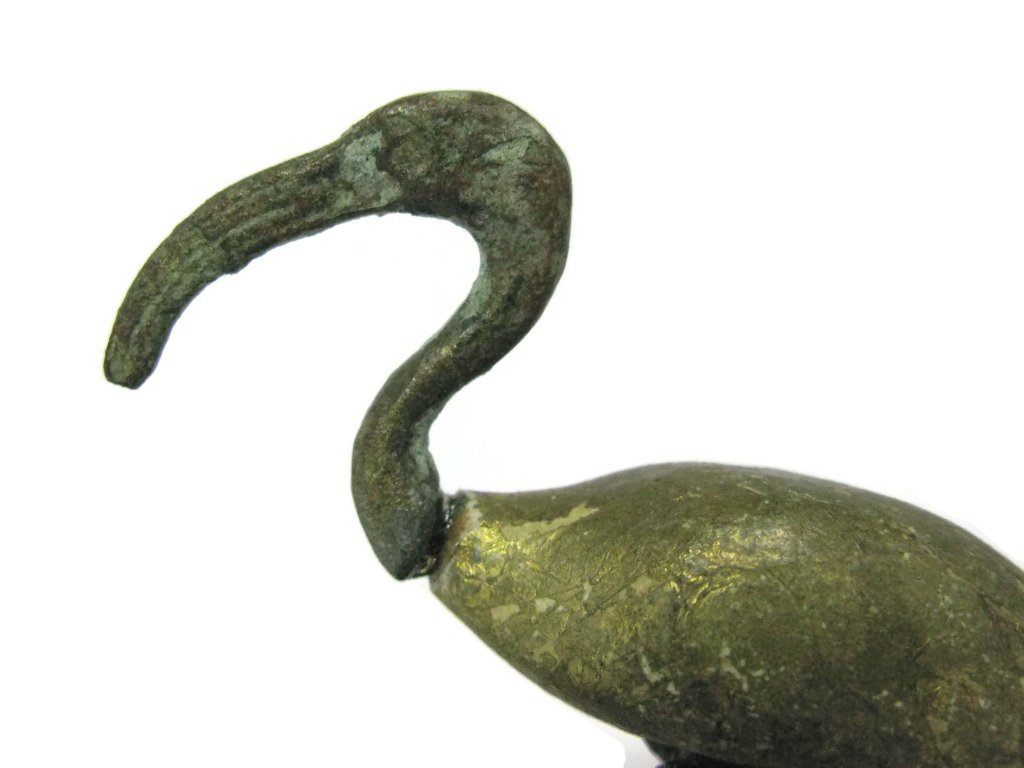 EGYPTIAN GILDED WOOD AND BRONZE FIGURE OF IBIS - 5