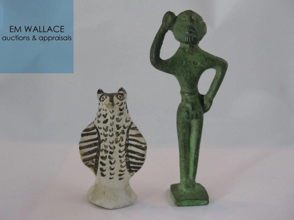 VOTIVES BRONZE FIGURE AND CERAMIC/ FAIENCE OWL