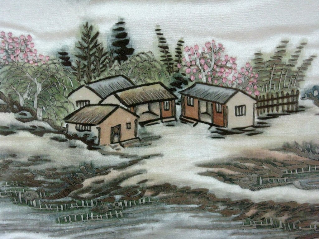 DIPTYCH CHINESE SILK EMBROIDERY LANDSCAPE PANELS - 10