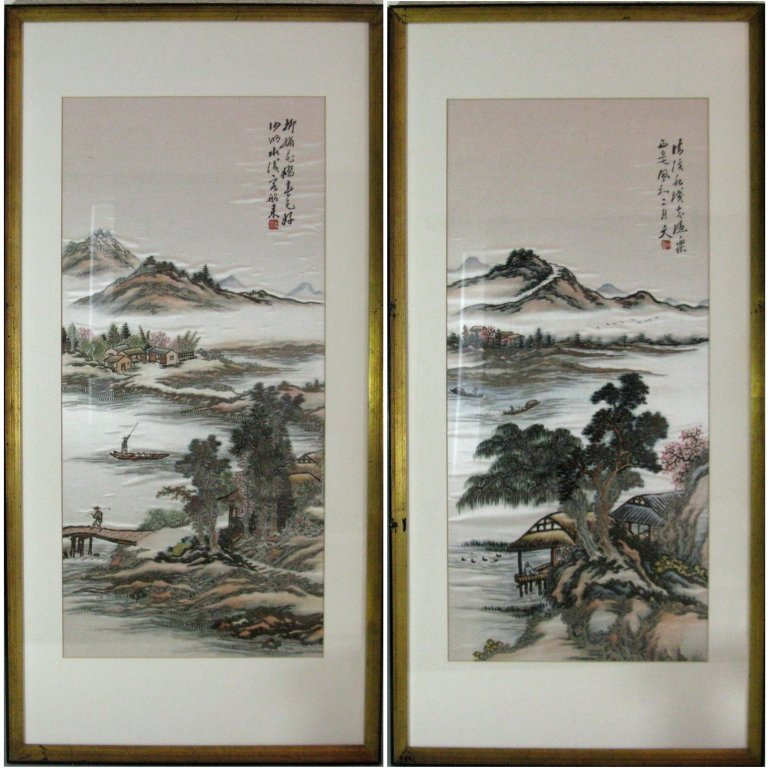 DIPTYCH CHINESE SILK EMBROIDERY LANDSCAPE PANELS