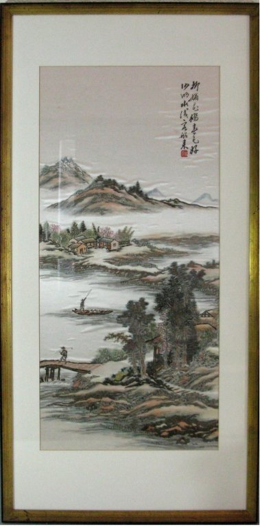 DIPTYCH CHINESE SILK EMBROIDERY LANDSCAPE PANELS - 2